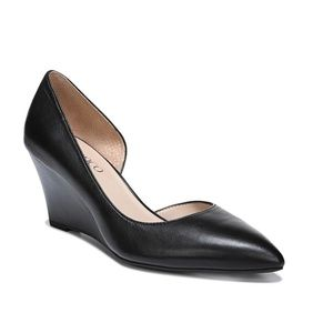 Franco Sarto Black Leather Wedge Pump I Size 7.5